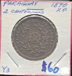 PARAGUAY - FANTASTIC HISTORICAL COPPER 2 CENTESIMOS, 1870,  KM# 3