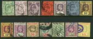 Malaya Straits Settlement 1904-10 EVII 1c to $5 (14) - G-VFU