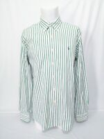 Ralph Lauren Custom Fit Green White Striped Long Sleeve Shirt Mens Size XL