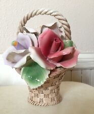 "CAPO DI MONTE VINTAGE FLOWER BASKET SIGNED ITALY 8"" Tall"