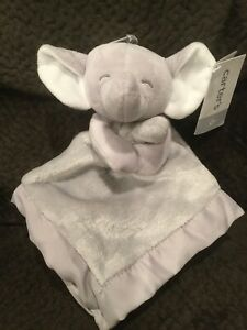 Carters Gray Plush Elephant Security Blanket New Lovey