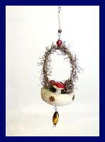 Wattekörbchen mit Fliegenpilzen - Original um 1920  (# 4776)