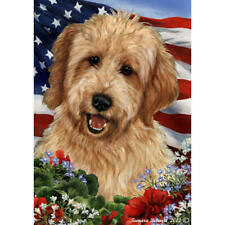 Goldendoodle Red Patriotic Flag