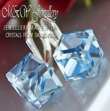 925 Sterling Silver Earrings CUBE 8mm - Aquamarine Crystals From Swarovski®