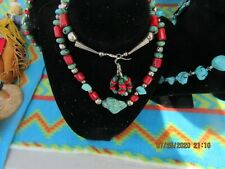Coral And Turquoise With Earings Handcrafted From Arizona 24'' Neckless