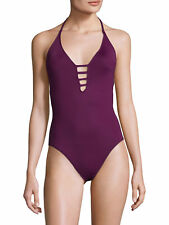 NEW La Blanca Island Goddes Keyhole Halter One piece Swimsuit 8 CRB Cranberry