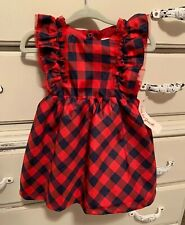 Cat & Jack Red Plaid Dress 2 Piece Bloomers NWT Holiday Baby Girl 12M Months