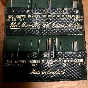 Antique Abel Morrall Needle Holder Leather Advertising Case Sewing Craft Vintage