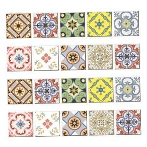 20pcs Mosaic Wall Art Tiles Stickers Kitchen Bathroom Tile Decals B 10x10cm