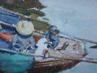 Boats in Harbor WATERCOLOR Hong Kong Original DONALD TEAGUE 1936 INSCRIPTION