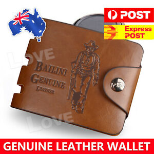 OZ Genuine Leather cowhide Mens Wallet Brown Business Credit Card Holder Stylish