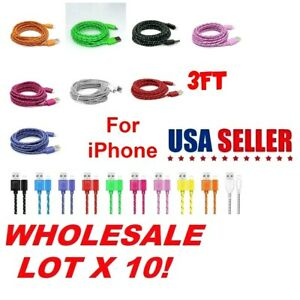lot 10 3FT BRAIDED Data Sync Cable Charging USB Cord For iPhone 11/12 XR 8 Plus