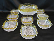 FRANCESWARE HOBBS BROCKUNIER & Co 9pc DESSERT SET YELLOW DEW DROP HOBNAIL No 323