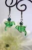 Glass Jewels Edelstahl Ohrringe Ohrhänger Vogel Grün Perlen Sommer Lampwork#C075
