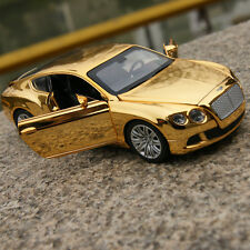 Bentley GT W12 Car Model Alloy Diecast 1:32 Sound&Light Golden-Yellow Plated Toy