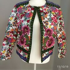 Jacket Women bohemian L colorful embroidery boho floral flowers