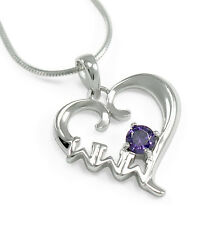 Sigma Sigma Sigma sterling silver heart pendant w/ Swarovski purple crystal