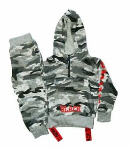Boys Grey Camouflage Tracksuit Zipped Top | Cuffed Ankle Bottom | 2 -5 Years