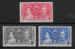 SOMALILAND PORTECTORATE , GEORGE VI , CORONATION , 1937 , LOT OF 3 STAMPS , MNH
