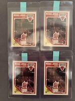 Lot of (4) 1989 Fleer #21 Michael Jordan cards. Sharp Cards. Prepped For Grading