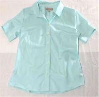 Banana Republic Womens size 10 Short Sleeve Button Front Blouse Cerulean