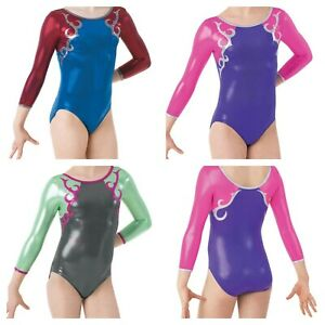 NEW 2 Tone Foil Mystique Long Sleeve Gymnastics Competition Leotard Child Adult