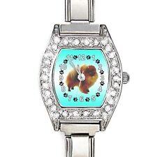 Pomeranian Dog CZ Ladies Stainless Steel Italian Charm Bracelet Watch BJ1122