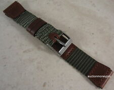 New Green Nylon & Brown Leather 19mm SHORT Sport Watch Band for Smaller Wrists