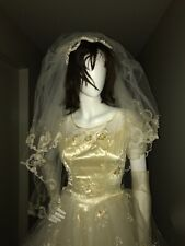 Vtg 70's Satin Regency/Victorian Wedding Gown w/Petticoat Slip, Veil, Gauntlets
