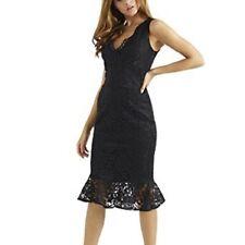BNWT Lipsy Black Lace Flute Hem Bodycon Dress Size 16