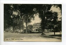 North Billerica MA Mass Elm Street view, homes, people, antique postcard