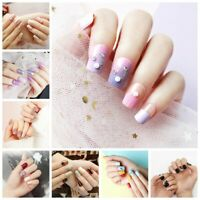 24Pcs/Set False Nail Tips Acrylic French Design Full Cover Fake Artificial Nails