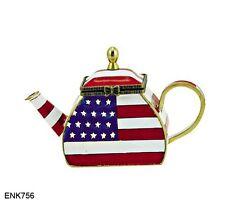 KELVIN CHEN Enamel Copper Hand paint  Miniature Teapot American Patriotic Flag