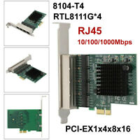 PCI-E×1 Gigabit Network Card RTL8111G Chip 4 Port RJ-45 Ethernet Lan Adapter