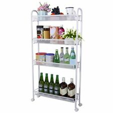 Lifewit 4-Tier Gap Storage Rolling Cart Slim Slide-out Tower Rack Kitchen White