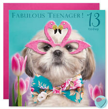 13th birthday card for girls FABULOUS TEENAGER to or from Shih-Tzu dog Lover