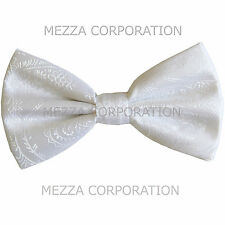 New formal men's pre tied Bow tie paisley pattern party wedding prom white