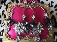 Betsey Johnson Metal Mesh Bows Pewter Crystal Flower HUGE Hoop Earrings $75