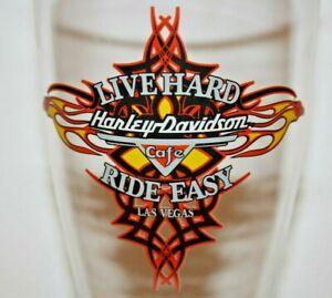 HARLEY DAVIDSON CAFE LAS VEGAS LIVE HARD RIDE EASY TALL 22oz PILSNER BEER GLASS