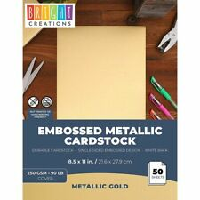 "50x Textured Embossed Metallic Cardstock Paper for DIY Crafts 8.5 x 11"" Gold"