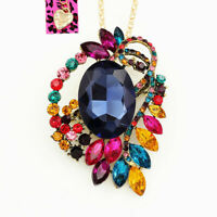 Colorful Crystal Flower Pendant Chain Betsey Johnson Necklace/Brooch Pin Gift