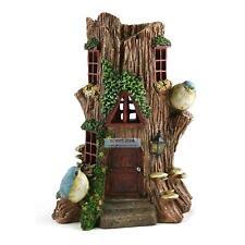 Tree Stump Fairy Solar House  28cm Elf Goblin Light Up Home Outdoor Garden Decor