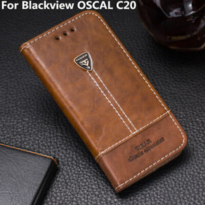 """For Blackview OSCAL C20 6.088""""Case Cover PU Leather Flip Wallet Stand Slots Skin"""