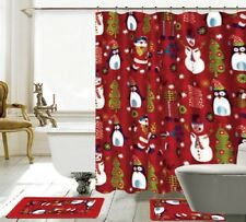 15 Piece Merry Christmas time Theme shower curtain Set