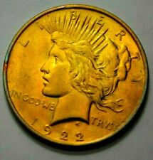 1922-P Peace Dollar Superb Silver US Coin $1.00, Golden Toned Coin, NO RESERVE !