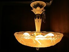 Antique Art Deco frosted Pink glass ceiling Fixture chandelier ceramic stem 14W