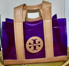 Tory Burch Clear PVC Leather Canvas Strap Bag Weekend Tote