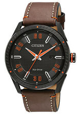 Citizen DRIVE BM6995-19E Men's CTO Black IP Brown Leather Band 3-Hand Date Watch