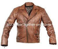 Vintage Classic Diamond Motorcycle Biker Brown Distressed Cow Leather Jacket UK