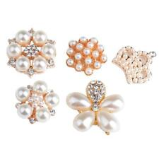 5pcs Rhinestone Pearl Button Flatback Embellishment DIY Wedding Decorations